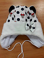 Детская зимняя шапочка для девочки Микки Маус белая