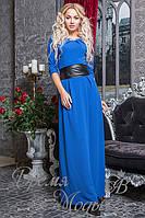 Синее платье с поясом. 3 цвета.