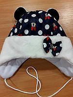 Детская зимняя шапочка для девочки Микки Маус синяя
