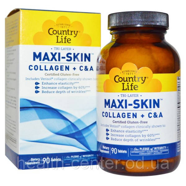 Maxi-Skin Коллаген+С+А 90 таб для восстановления коллагена в коже, для упругости кожи Country Life