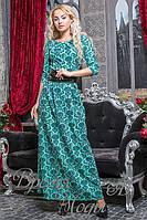 Вечернее бирюзовое платье с принтом. 5 цветов.