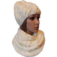 Женская вязаная шапка и шарф снуд в стиле Лало, объемной ручной вязки