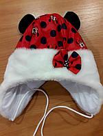 Детская зимняя шапочка для девочки Микки Маус красная 44 размер