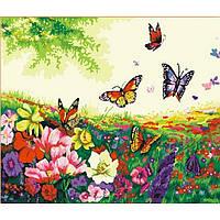 "Картина по номерам ""Цветы и бабочки"" 40х50 см."