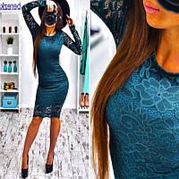 Платье миди облегающее из гипюра на подкладке 3 цвета SMs729