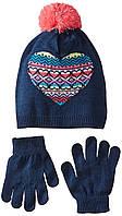 Демисезонный комплект шапка и перчатки для девочки подростка; универсальный размер