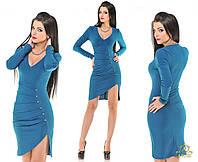 Короткое женское платье с красивым вырезом  Цвет: изумруд, красный, черный