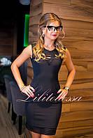 Повседневное платье футляр с молнией черное