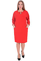 Платье красное осень/зима р.56