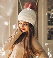 Красивая вязаная женская шапка с жемчугом и помпоном из меха шерсть акрил