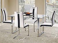 Стеклянный прямоугольный кухонный стол Halmar Porter на стальной хромированной опоре