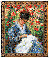 """Набор для вышивания RIOLIS PREMIUM «""""Мадам Моне за вышивкой"""" по мотивам картины К. Моне» (100/051)"""