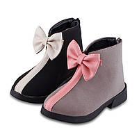 Стильные ботиночки с бантом в двух цветах
