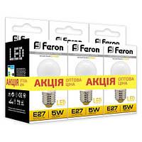"""Светодиодная лампа Feron LB95 5W E14/E27 2700K """"Шарик"""" 3 шт. в упаковке"""
