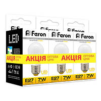 """Светодиодная лампа Feron LB95 7W E14/E27 2700K """"Шарик"""" 3 шт. в упаковке"""