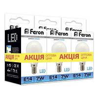 """Светодиодная лампа Feron LB95 7W E14/E27 6400K """"Шарик"""" 3 шт. в упаковке"""