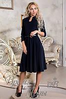Тёмно-синие платье с поясом и украшением. р. от 42 до 50. 6 цветов.