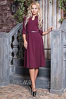 Бордовое платье с поясом и украшением. р. от 42 до 50. 6 цветов