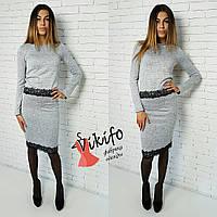 Женский стильный костюм с кружевом: кофта с кружевом и юбка