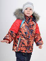 Зимний детский комбинезон (куртка и полукомбинезон) для мальчика цветной с опушкой