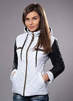 Демисезонная куртка белая с черными вставками