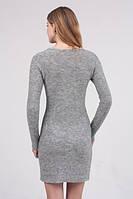 Облегающее вязаное платье серый- 3006