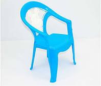 Детский стул пластмассовый голубой с белой спинкой