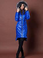 Женская  куртка со съемный исскуственным мехом на капюшоне