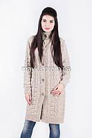 Элегантный вязаный кардиган-пальто бежевый размер 48