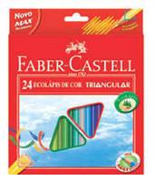 Цветные карандаши трехгранные, 24 цвета + точилка