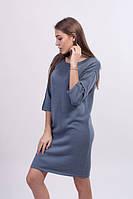 Платье свободного силуэта хлопок серый - 3026
