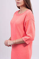 Платье свободного силуэта хлопок  ярко-розовый - 3026