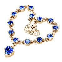 """Изящные браслеты с подвеской """"Сердце"""" в золотой оправе с синими камнями"""