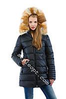 Женский зимний пуховик с капюшоном и натуральным мехом лисы