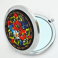 Карманное зеркальце Петриковская роспись. Букет с васильком