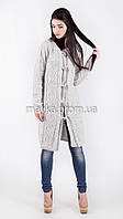 Шикарный вязаный кардиган-пальто светло-серый размер 48