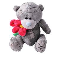 Мишка тедди с цветком 18 см | Мягкие детские игрушки