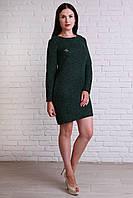 Зеленое платье  украшена спинка пуговицами