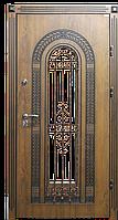 Дверь металлическая МДФ, ковка и стеклопакеты 2050х960. Дверь входная с ковкой.