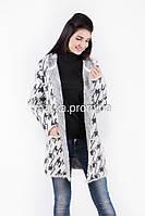 Модный вязаный кардиган с капюшоном нитка-травка размер 50 it01
