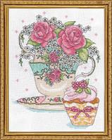 """Набор для вышивания крестом """"Teacup Roses (Чайная чашка с розами)"""""""