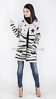 Модный вязаный кардиган Звезды нитка-травка размер 48 it02