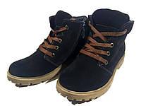 Ботинки подростковые натуральная замша черные (Д363)