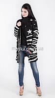 Модный вязаный кардиган Звезды нитка-травка черный размер 48 it03