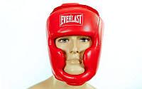 Боксерский шлем красный EVERLAST р.  L кож/винил с полной защитой регулируемый