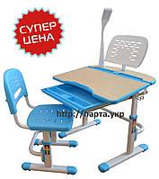 Комплект детская парта и стул, лампа, подставка, (голубой розовый)