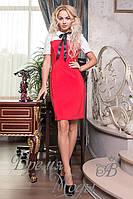 Красное классическое платье с бантом. 7 цветов.