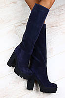 Сапоги Giuseppe Zanotti синие замшевые демисезонные и европейка на толстом устойчивом каблуке