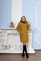 Женское теплое зимнее пальто р. S-XXL арт. Милтон букле песец зима
