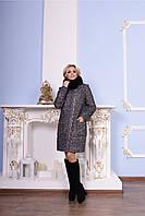 Стильное женское зимнее пальто р. S-XXL арт. Милтон букле песец зима